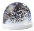 Plastic snow globe with magnet on backside