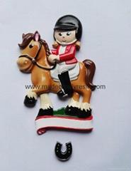 Polyresin horse sport christmas ornament