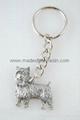 Yorkie Dog Fine Pewter Silver Keychain