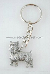 Yorkie Dog Fine Pewter Silver Keychain Key Chain Ring Puppy Cut