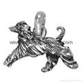 Zinc alloy Engraved Si  er color Afghan Hound Charm