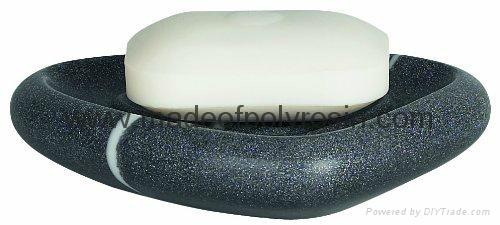 Spirella Etna Stone Soap Dish Polyresin Black White Stone Effect