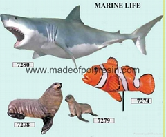 Fiber glass marine life  of shark and fish crafts