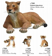 fiber glass lion family for garden decoration