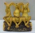 Statue Three Wise  Kangaroo on Log