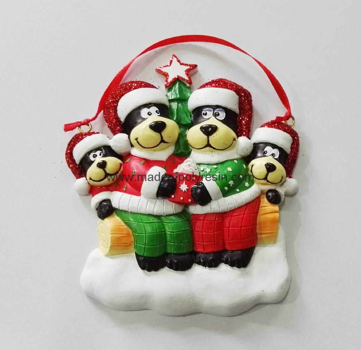 Personalized christmas ornament of bear family 1