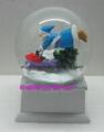 Polyresin Christmas snow ball with music base 4