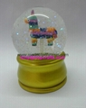 Resin colorful snow globe with golden