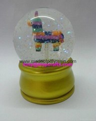 Resin colorful snow globe with golden color base