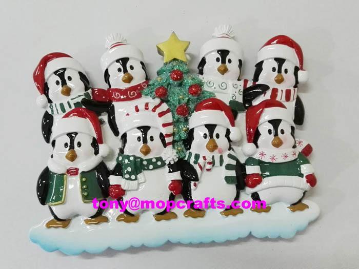 Resin penguin family table topper christmas ornament