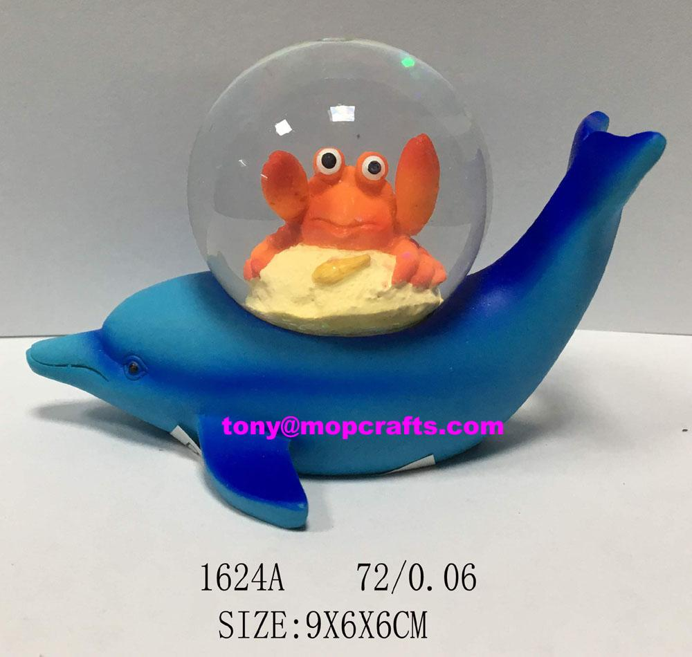 Blue dolphin snow globe with crab 1