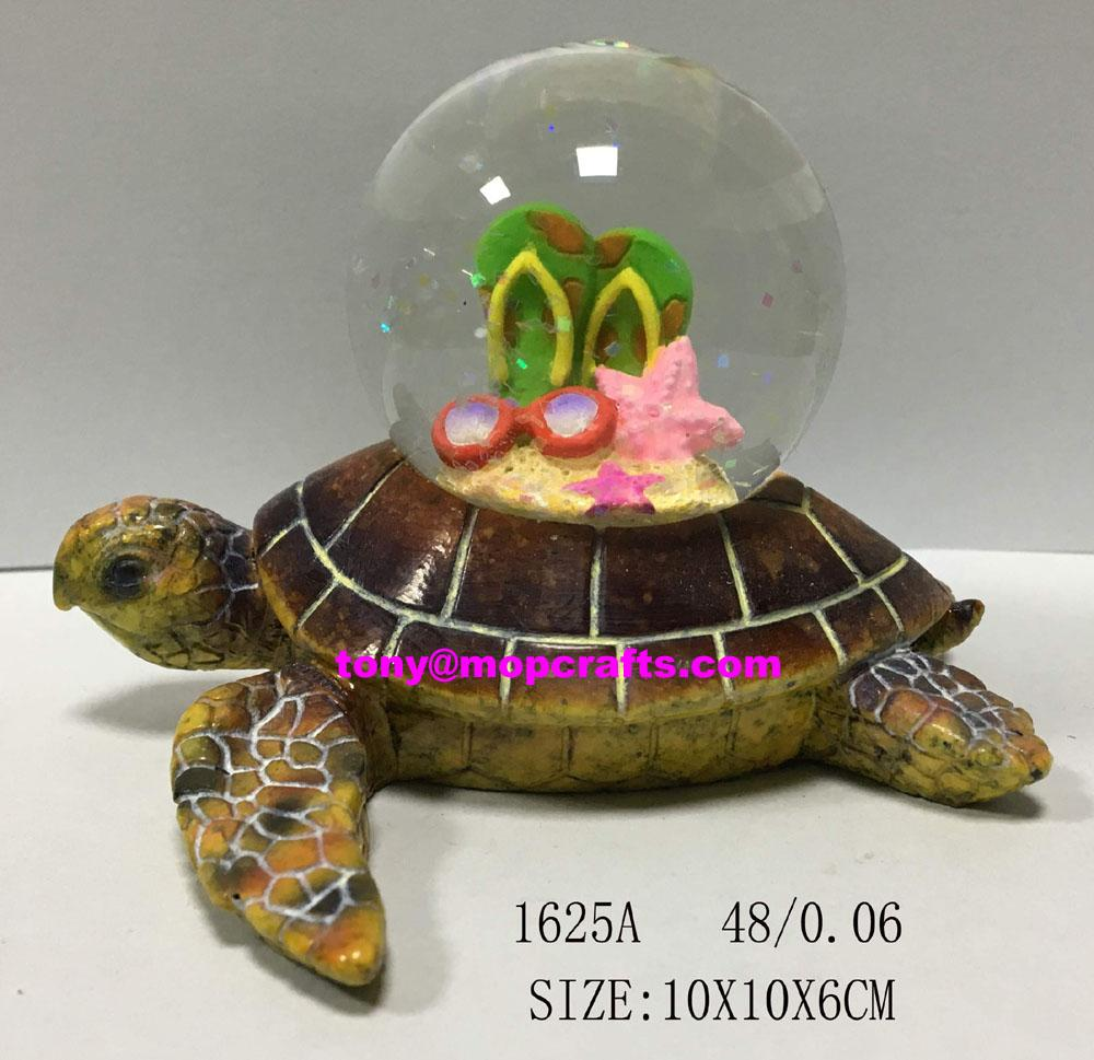 Resin ocean turtle with snow globe 1