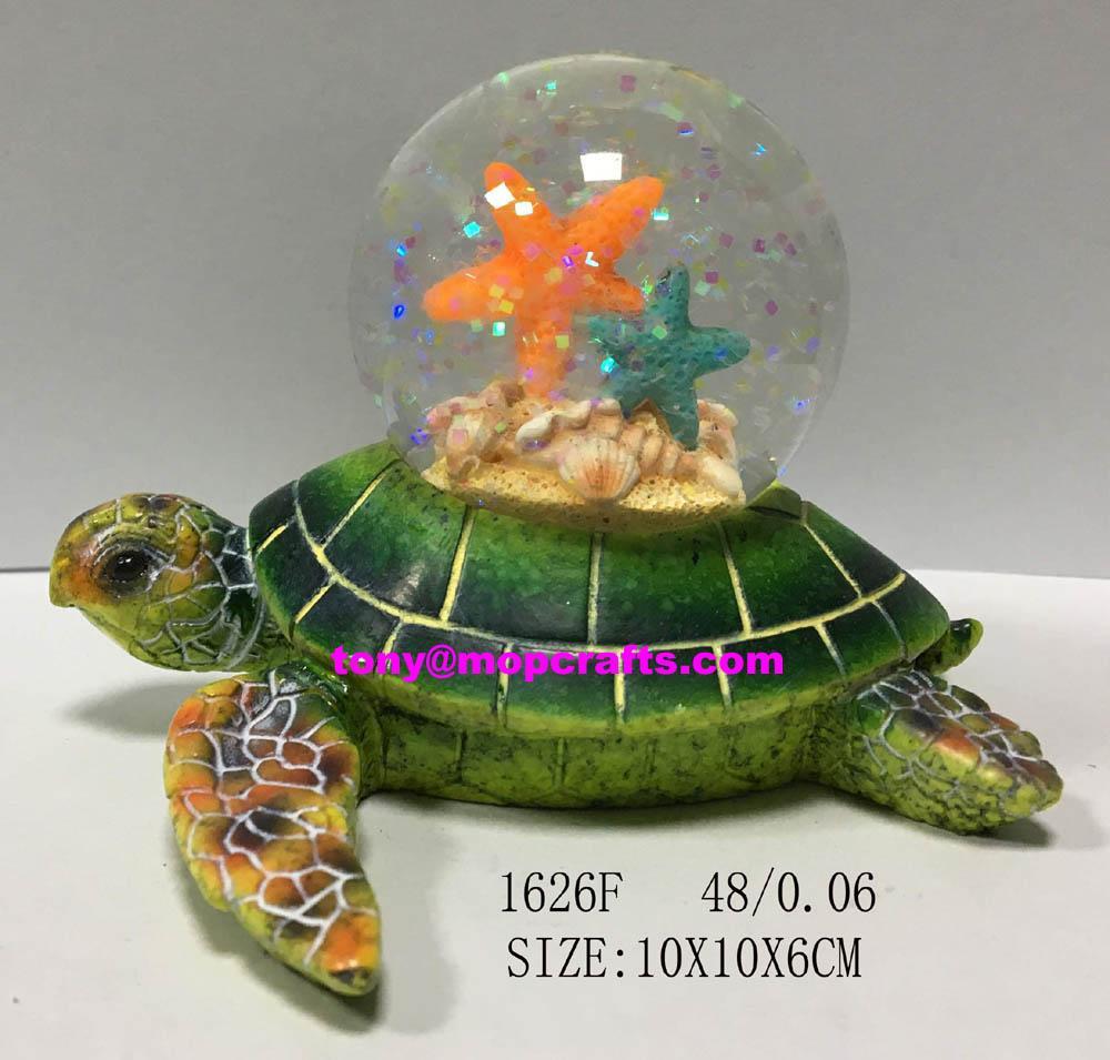 Resin green turtle with  souvenir snow globe