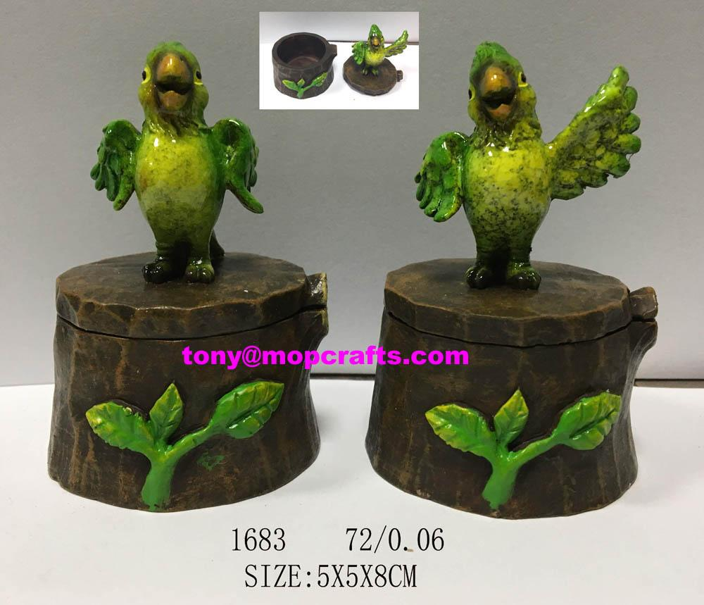 Polyresin jewellery box of Cartoon parrot
