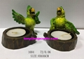 Resin candle holder with  green parrot statue