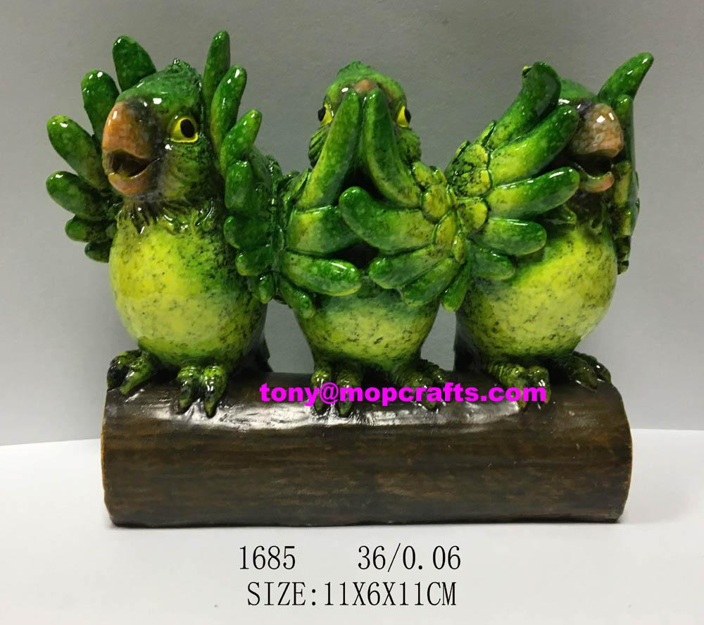 Polyresin wise green parrot home decoration 1