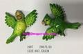 Polyresin cartoon Green or red parrot fridge manget