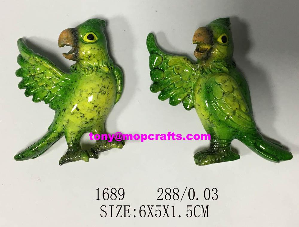 Hello Green parrot of good quality fridge magnet 1