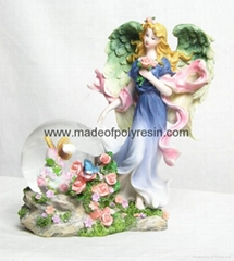 polyresin/polystone flower fairy snow ball/waterball