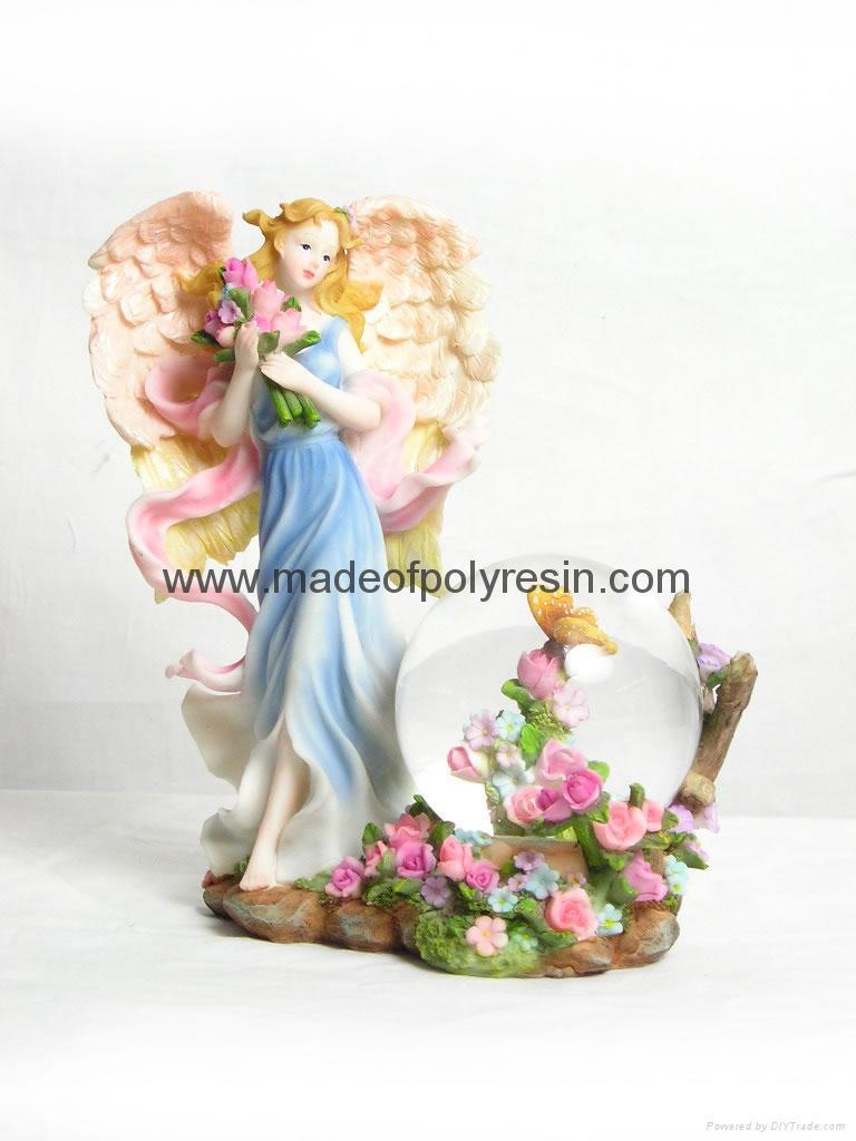 polyresin/polystone flower fairy waterball 1