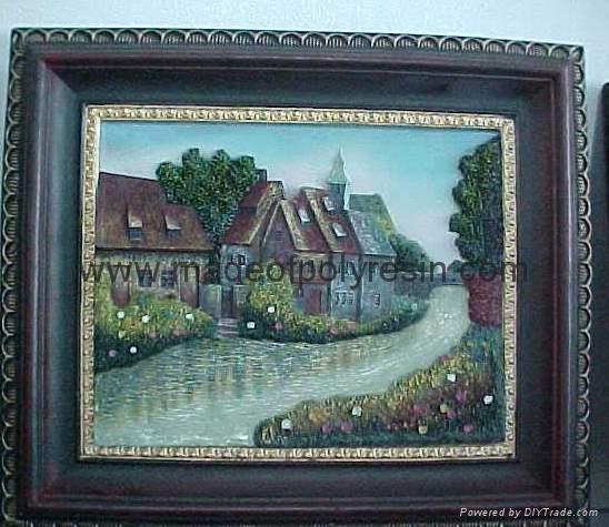 polyresin/polystone scenery/landscape plate/fresco 1