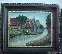 polyresin/polystone scenery/landscape plate/fresco