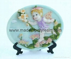polyresin/polystone plate plaque, baby angel gifts  2D sculpture