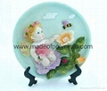 polyresin/polystone 2D sculpture for baby angel plate