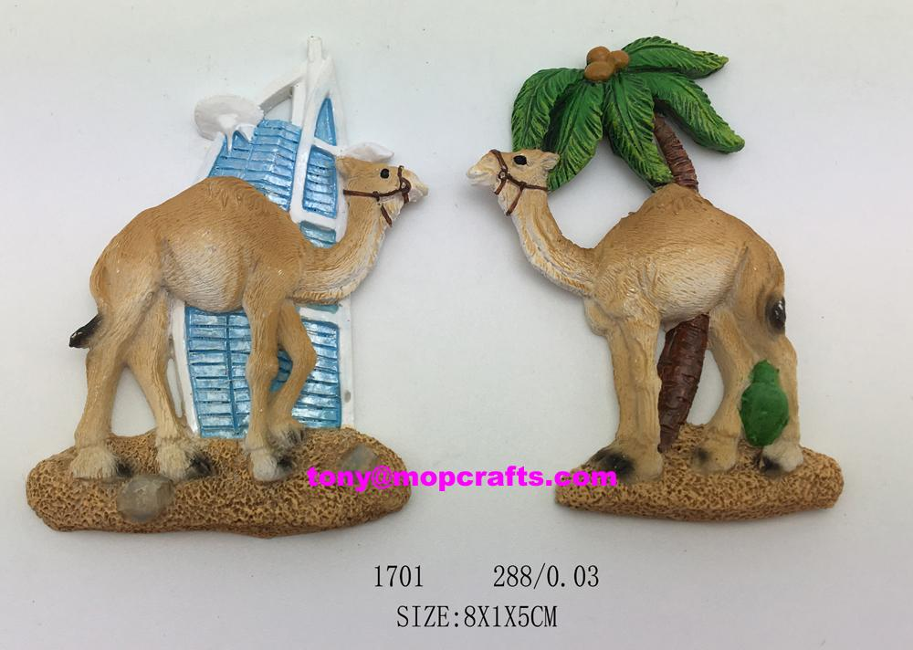 Polyresin camel fridge magnet with tower 1