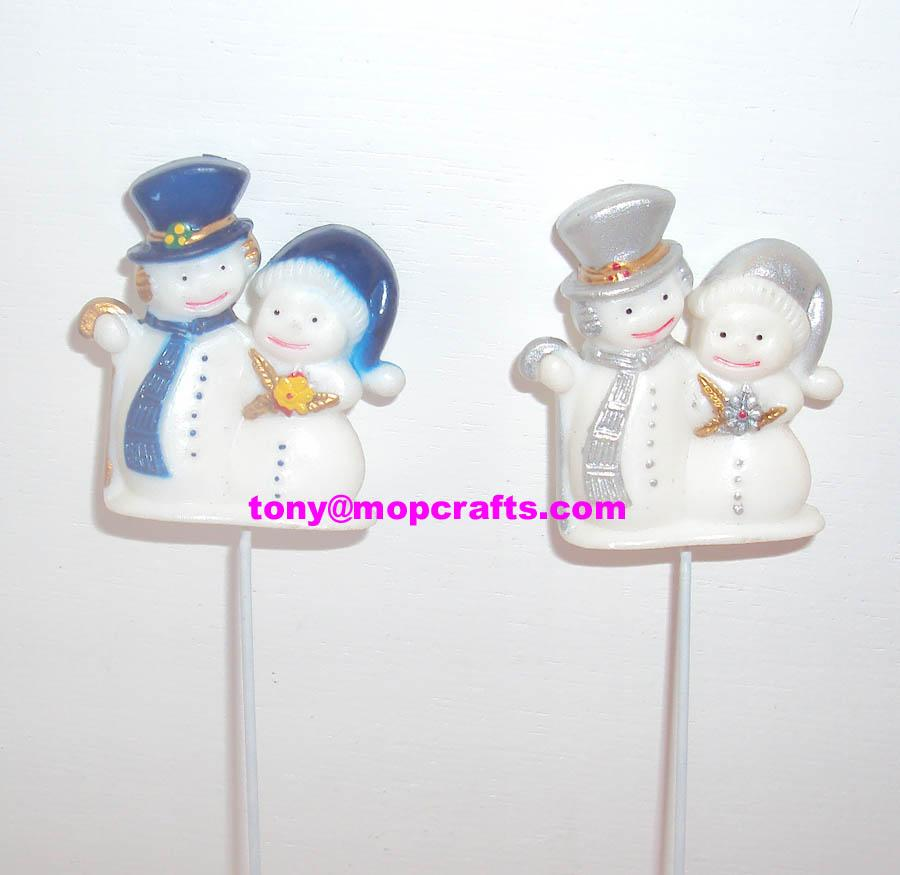 Polyresin snowman figure with sticking function