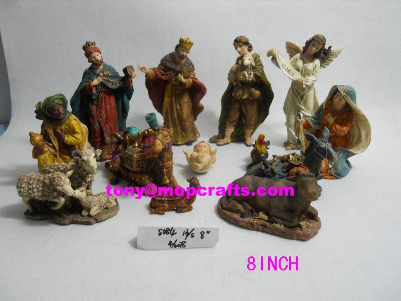resin religious nativity set