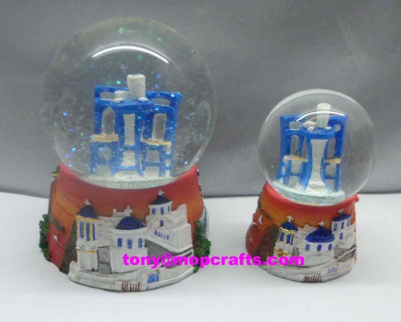 Resin Greece snow globe with good quality 1