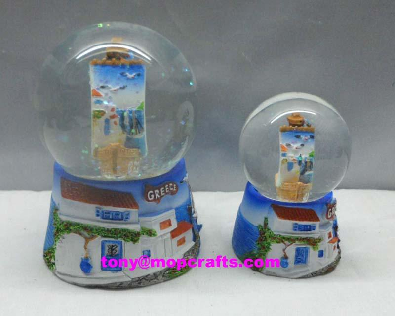 Greece tourist gifts with boat water globe inside