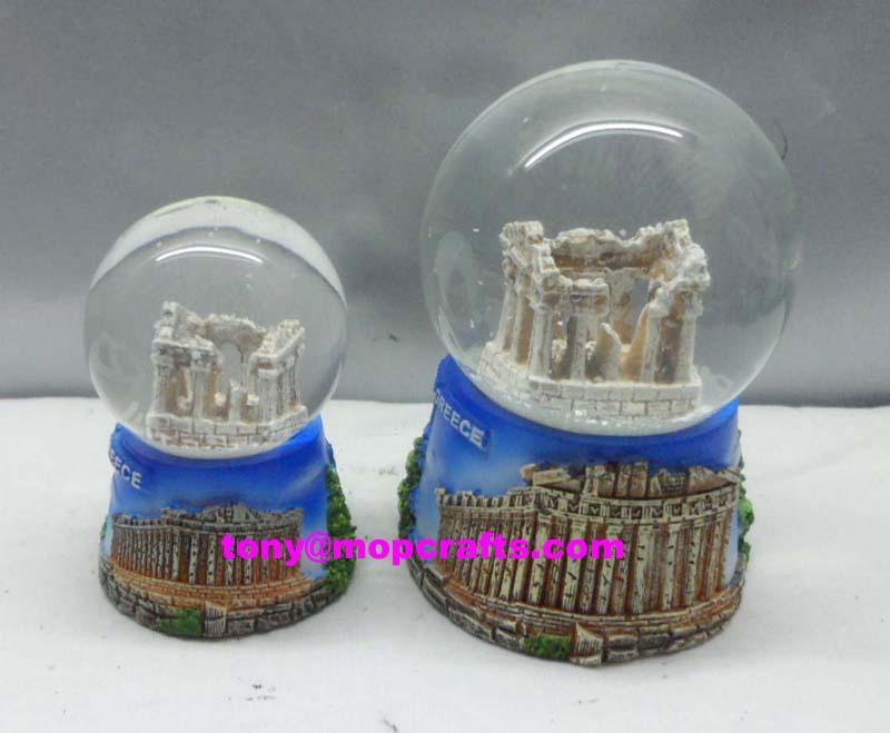 Polyresin Greece Church of souvenir snow globe gifts