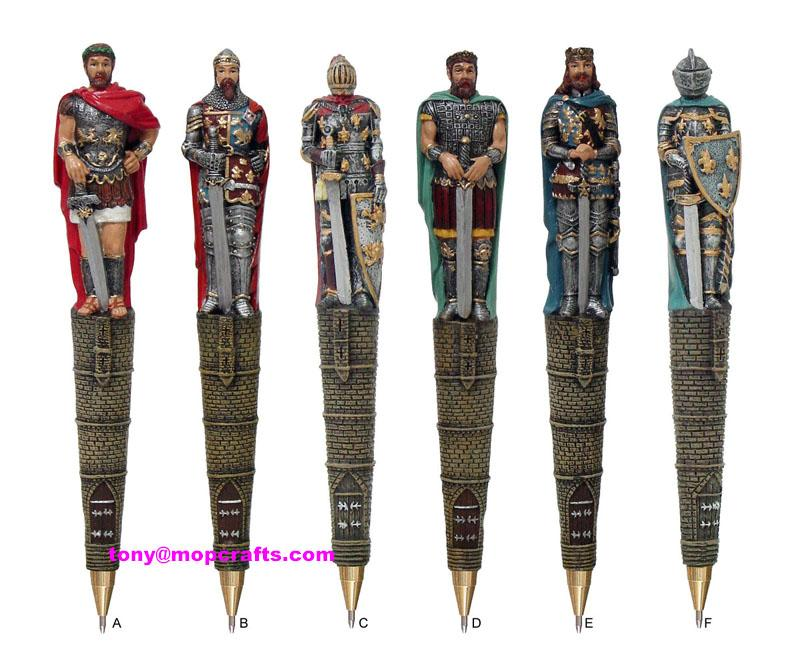 Polyresin warrior pen in good quality