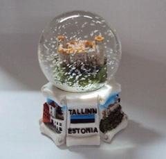Polyresin 3D building base snowglobe for Viru Estonia