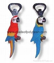 Polyresin parrot bottle opener,polystone parrot opener