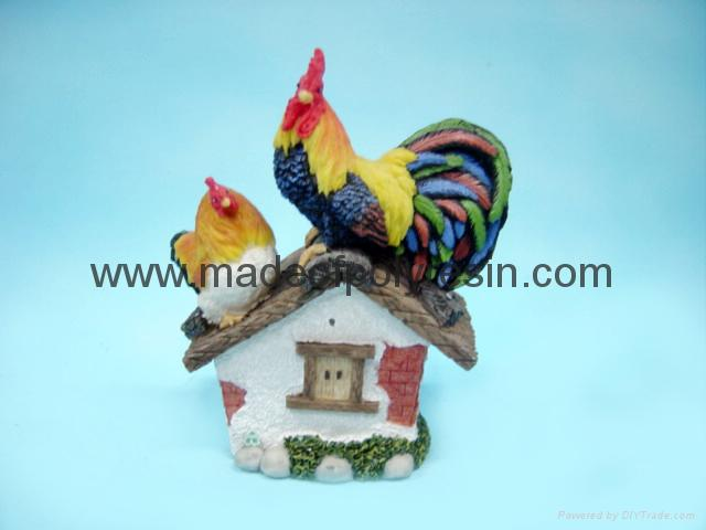 polyresin rooster crafts/garden rooster decor/rooster statue