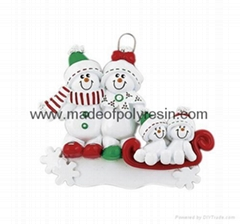 Ornament Snowman Sled-Resin Christmas Gifts