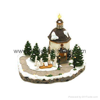 polyresin christmas building,resin miniature building,house miniature model 1