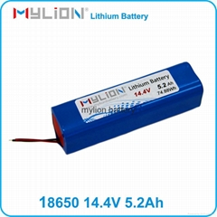 Rechargeable lithium battery pack 18650 5200mah 14.4V for Medical Instrument