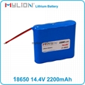 Rechargeable Lithium Battery For Smart Vacuum Cleaner 18650 2200mah 14.4V 1