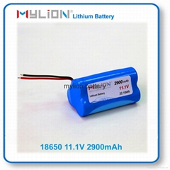 Rechargeable Lithium Battery For LED Light or Solar Light 18650 2900mah 10.8V