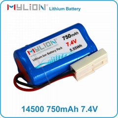 Mylion Lithium Battery 14500 2S 750mah 7.4V for electrical toy or phone