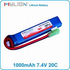 airsoft gun li-ion battery 7.4v 1000mAh 20c flat lipo with mini tamiya connetcor