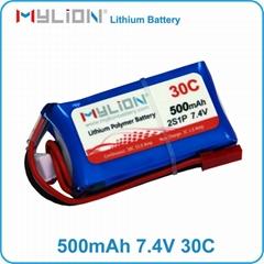 2S 7.4V 500mah 30C Battery Lipo pack For