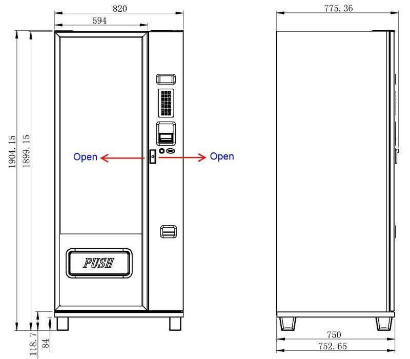 Medium Glass Front Combo Vending Machine Km004 China