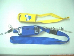 Lanyard with mobile phone holder