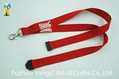 Custom polyester material silk screen printing neck strap lanyard