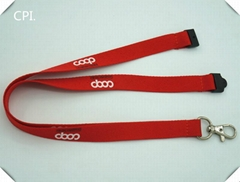Polyester material red lanyard with white lanyard and accessories